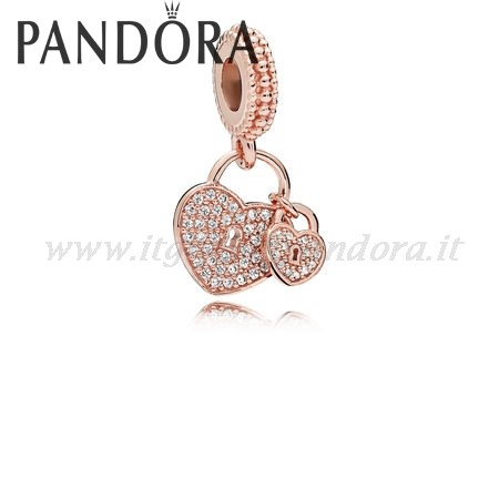 Shop Pandora Amore Locks Dangle Charm Rose Chiaro Collezione
