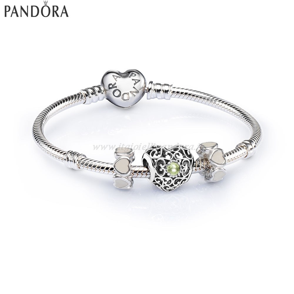 Shop Pandora August Signature Heart Birthstone Charm Bracelet Collezione