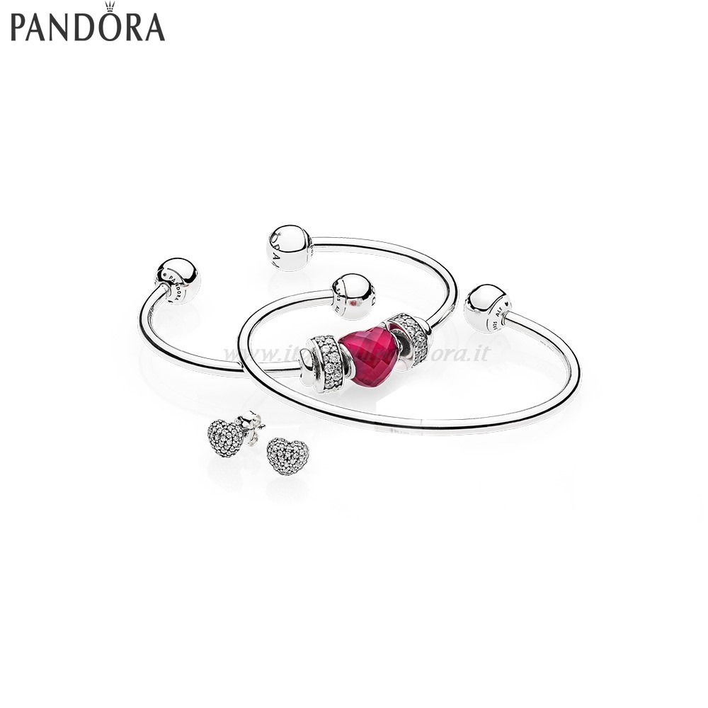 Shop Pandora Be Mine Stacked Open Bangle Regalo Collezione
