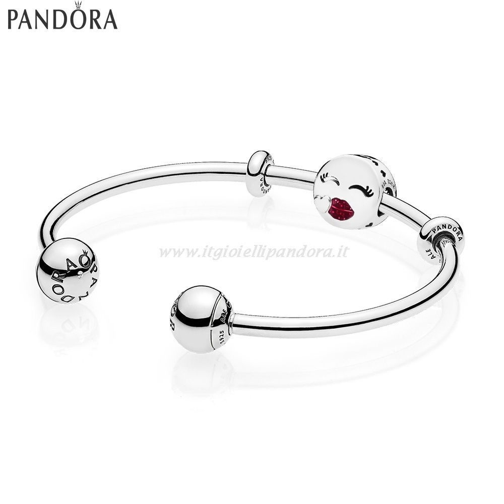 Shop Pandora Cute Bacio Open Bangle Regalo Collezione
