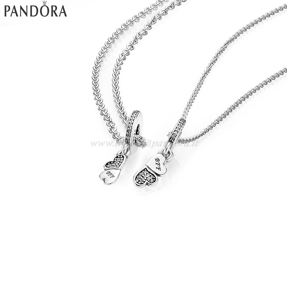 Shop Pandora Hearts Silver Dangle With Clear Cubic Zirconia And Necklace Collezione