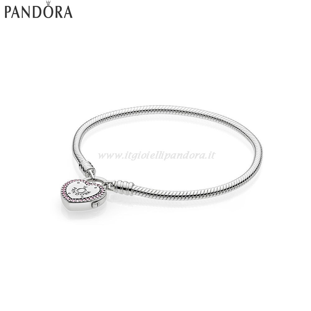 Shop Pandora Lock Your Promise Bracelet Fancy Fuchsia Pink Clear Collezione